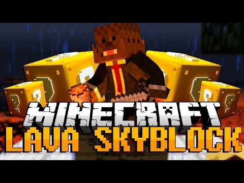 Minecraft: Lucky Block LAVA SKYBLOCK PVP! Modded Minigame w/ Taz, AciDicBliTzz and Jeff!