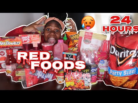 I ONLY ATE RED FOOD FOR 24 HOUR!! *RED HOT*🌶🥵