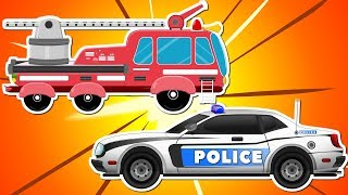 Red Fire Truck with Police Car and Ambulance | Emergency Cars Cartoon for kids