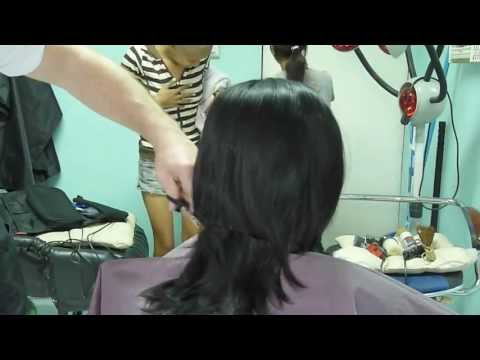Girl barbershop haircut and headshave