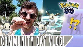 SHINY EEVEE COMMUNITY DAY VLOG DAY 2! Pokemon GO Eevee Name Trick on High IV Eevolutions