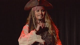 Johnny Depp appears as Jack Sparrow at D23 Expo 2015