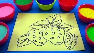 NHẠC THIẾU NHI NƯỚC NGOÀI! ĐỒ CHƠI TRẺ EM TÔ MÀU TRANH CÁT QUẢ DÂU TÂY! Color Sand Paint!