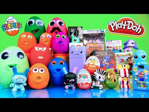 Surprise Play Doh Eggs Kinder Joy Toys Transformers LPS Disney Vinylmation TMNT Super Mario Opening