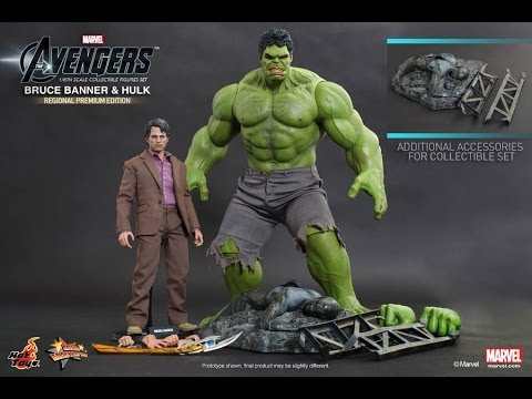The Avengers Hot Toys Bruce Banner & Hulk Two Pack 1/6 Scale Movie Figure Pics & Details!