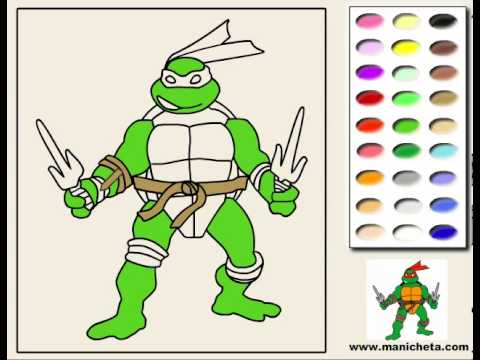 Juego Colorear Leonardo Tmnt Youtube