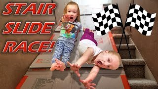 Ultimate Stair Slide Race!!! Older vs Younger Siblings Racing Down the Stairs!!