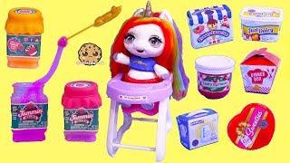Jelly Slime ! Surprise Rainbow Unicorn + Shopkins Food Blind Bag Packs