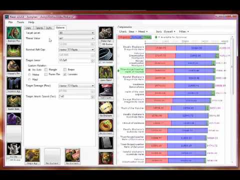 A quick tour of Rawr, the program for World of Warcraft (WoW) players, used to help optimize their character's gear: items, enchants, gems, buffs, talents, f...