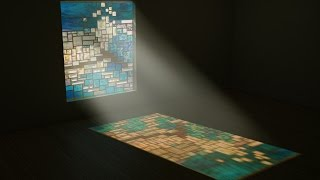 3ds max & psd (glass window with sun ray effect )