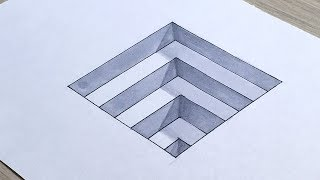 How to Draw 3D Steps in a Hole. Easy 3D Trick Art for Kids.