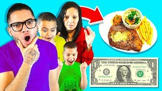 Family Only Spend $1 Food for 24 Hours Challenge! | MindOfRez