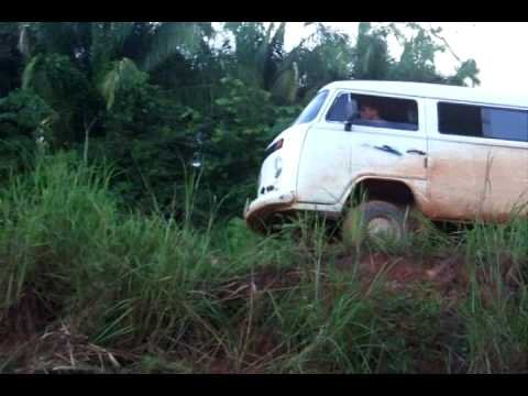 off road VW bus kombi in the amazon jungle of brazil