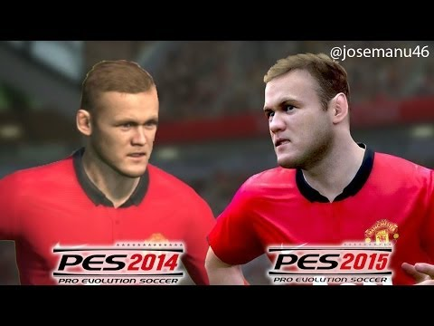 PES 2015 vs PES 2014 FACE Comparison MANCHESTER UNITED (Rooney, Evra, Carrick, Kagawa)