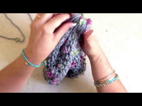 Juego de bufanda y gorro - tejido con los dedos rápido