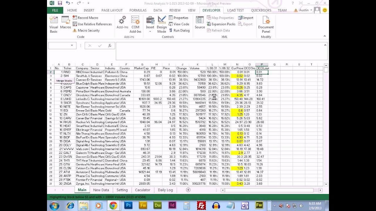 How to build an automated stock trading system in excel