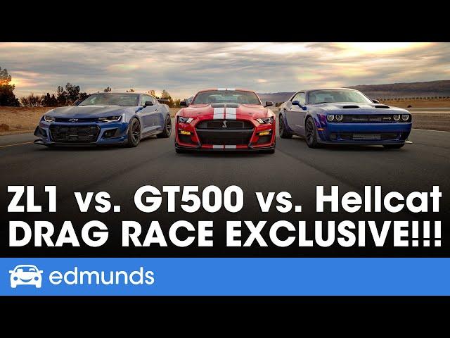 Ford Mustang Shelby GT500 vs. Dodge Challenger Hellcat Redeye vs. Chevy Camaro ZL1 1LE - Drag Race thumbnail