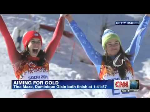 Tina Maze Dominique Gisin Wins Gold Women's Downhill Alpine Skiing 2014 Sochi Winter Olympics