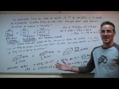 Plantear ecuaciones MEZCLAS y LEY 2ºESO unicoos incognita matematicas