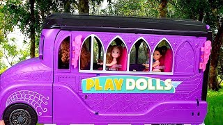 Barbie Girl Dolls School Bus Morning Routine!