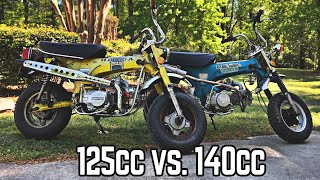 125cc Lifan 4 Spd. vs. Pitster Pro 140cc 4 Spd. on Trail 70s!