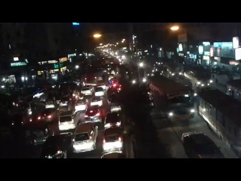 Traffic Jam Of Dhaka city BD in Night