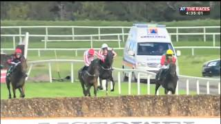 Jockey's horse falls and another collides with him.