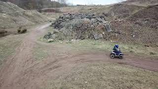 My lad 7 year old ethan on his 110cc quad and 125cc pit bike at local quarry mavic pro active track