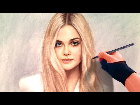 Drawing Sleeping Beauty (Elle Fanning) from Maleficent  portrait with pastel