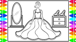 How to Draw a DRESS for Kids 👗👠💅Dress Drawing for Kids | Dress Coloring Pages for Kids