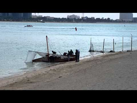 Stranded wooden racing boats in Abu Dhabi 30.01.2016