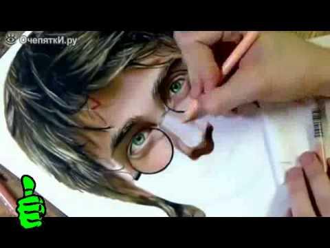 Невероятные рисунки !!! Гарри Потер нарисованный карандашом для макияжа..