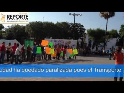 Tv Reporte - Toman las calles de Matamoros trabajadores del Transporte