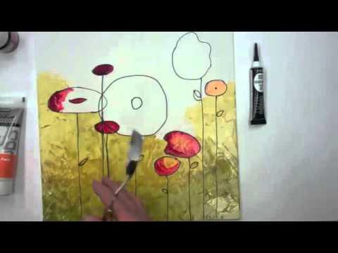 Peinture sur toile avec la peinture p b o vitrail youtube for Peinture sur toile