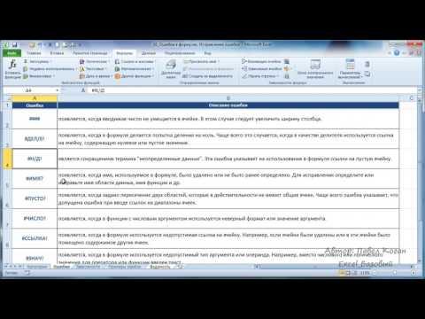 Курс Excel_Базовый - Урок №16 Виды ошибок. Исправление ошибок