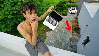 I DROPPED MY TWIN BROTHER'S MACBOOK PRO 50FT PRANK!