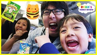 Warheads Sour Candy and Squishy Toys Challenge on the Airplane with Ryan and Daddy!