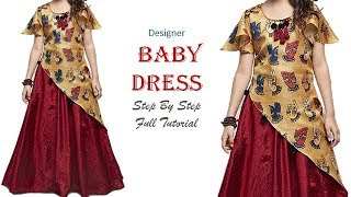 DIY Designer Baby Dress With Umbrella Sleeves Full Tutorial