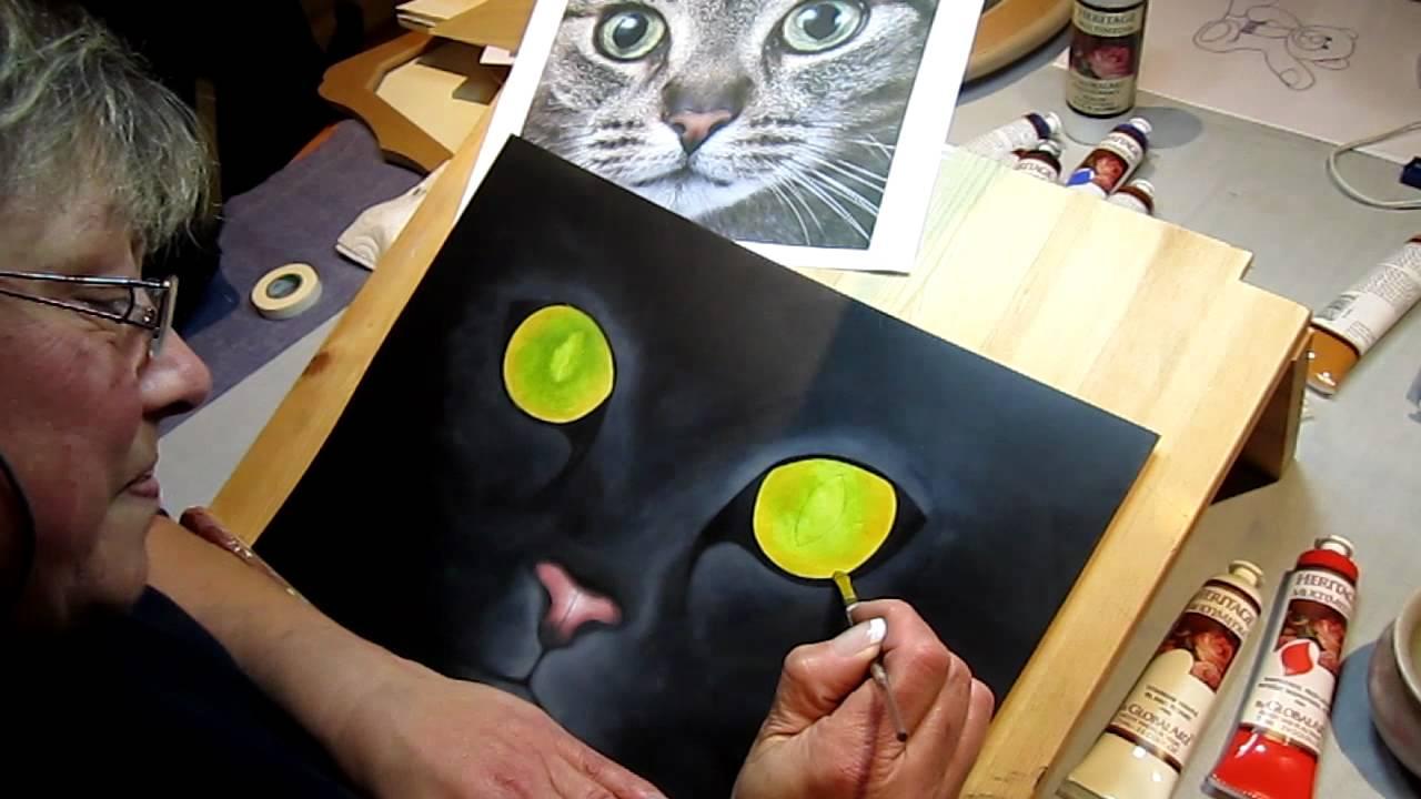 comment peindre un chat le travail des yeux 1 2 youtube. Black Bedroom Furniture Sets. Home Design Ideas