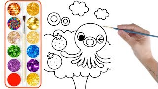 Octopus drawing and colouring for kids - O for Octopus in drawing book For kids