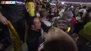 Post race brawl between Keselowski, Gordon, Harvick