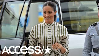Pregnant Meghan Markle Was Glowing In Stripes For Meeting With Tongan Prime Minister