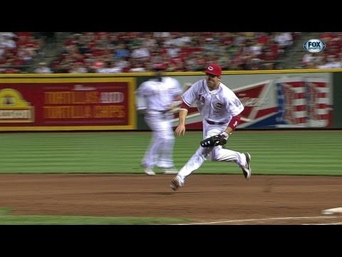 Joey Votto flips behind back, Matt Latos barehands it June 8 2013