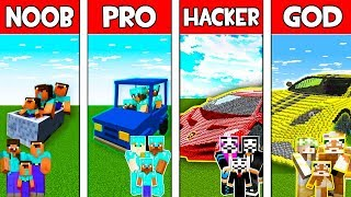 Minecraft - NOOB vs PRO vs HACKER vs GOD : FAMILY CAR in Minecraft ! Animation