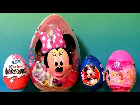 Huge Minnie Mouse Easter Eggs SURPRISE PeppaPig Disney Princess Kinder Choco HelloKitty DC toys