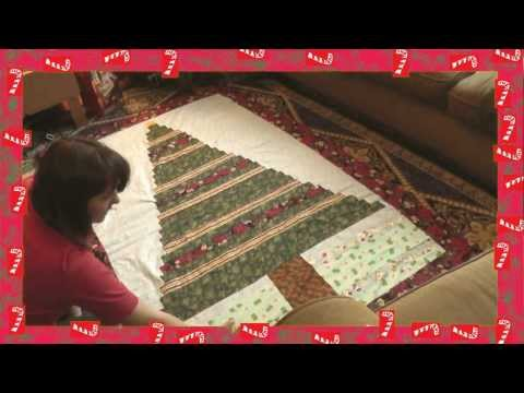 Beginner's  CHriStMaS tReE qUilt from Spare Fabric and Ribbon!! recycled!  (Lego-Style)