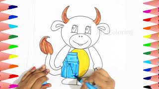Cow For Kids | How To Draw Cow | Animals Drawing Video | Art For Kids | Coloring Cow | Cow Milk Draw