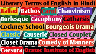 Literary Terms in English Literature || B & C