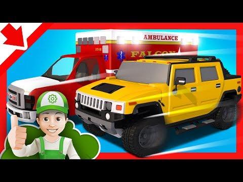 Ambulancia Dibujos animados. Ambulancia para niños Autos Coches educativos para niños en español