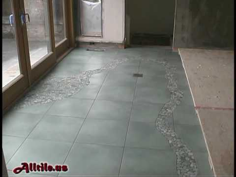 Floor Tile River Rock Inlay Design How To Install Tile